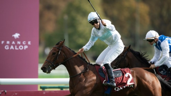 Jessica Marcialis celebrates a first Group 1 success as Tiger Tanaka lands the Prix Marcel Boussac at Longchamp