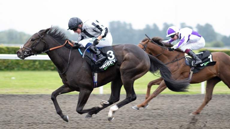 Eve Lodge (Jim Crowley) wins the Sirenia Stakes at Kempton for trainer Charlie Fellowes