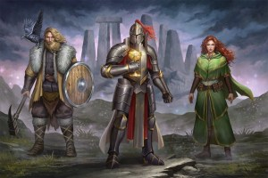 From left to right; a viking, a knight, and a priestess stand in front of Stonehedge