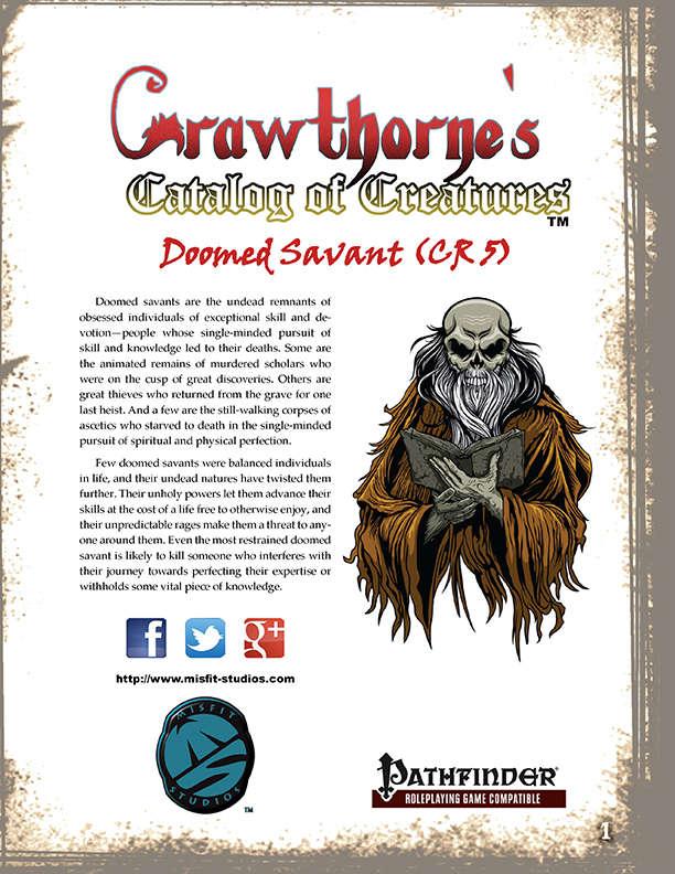 Crawthorne's Catalog of Creatures: Doomed Savant for the Pathfinder RPG
