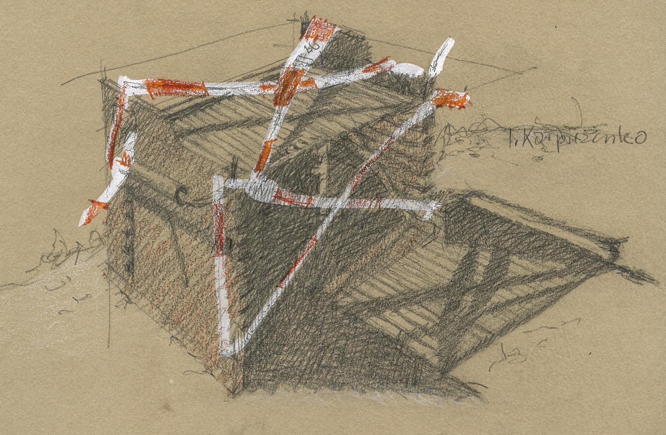 Bleistiftskizze der Bollwaldhütte, wegen Corona abgesperrt mit einem rot-weissen Band.