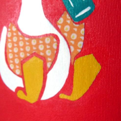 Tela pintada com colagem (detalhe).