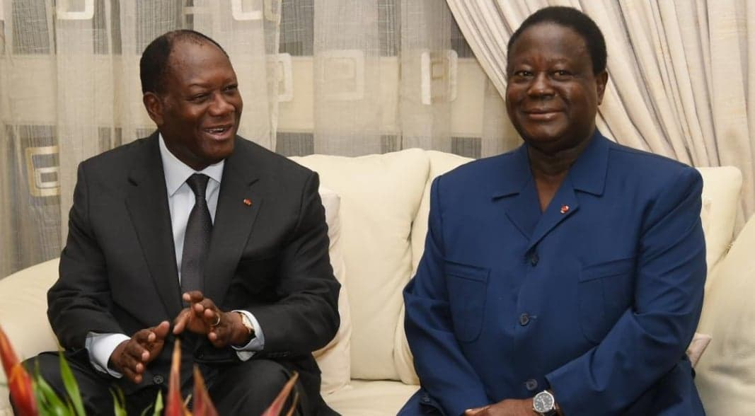 Les présidents Ouattara du RDR et Bédié du PDCI RDA