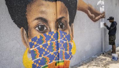 Oeuvre d'art urbain exprimant la pandémie du coronavirus