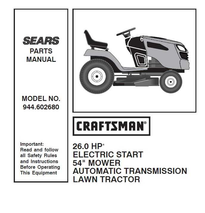 Craftsman Tractor Parts Manual 944 602680
