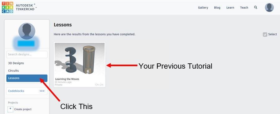 TinkerCAD Tutorial: Retrieve Previous Tutorial