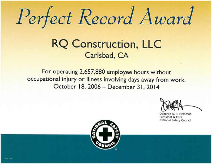 2014 - Perfect Record Award_RQ_10.18.06 to 12.31.14