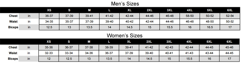 verge jacket sizing chart