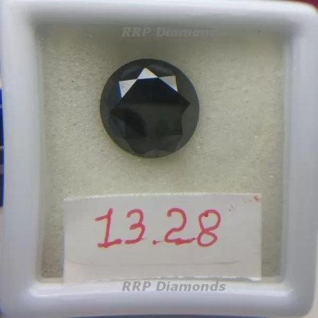 13.28 Carat Round Brilliant Cut 14.46 MM AAA Quality Black Diamond
