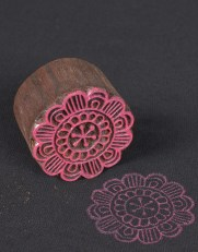 Round Floral Wooden Printing Block