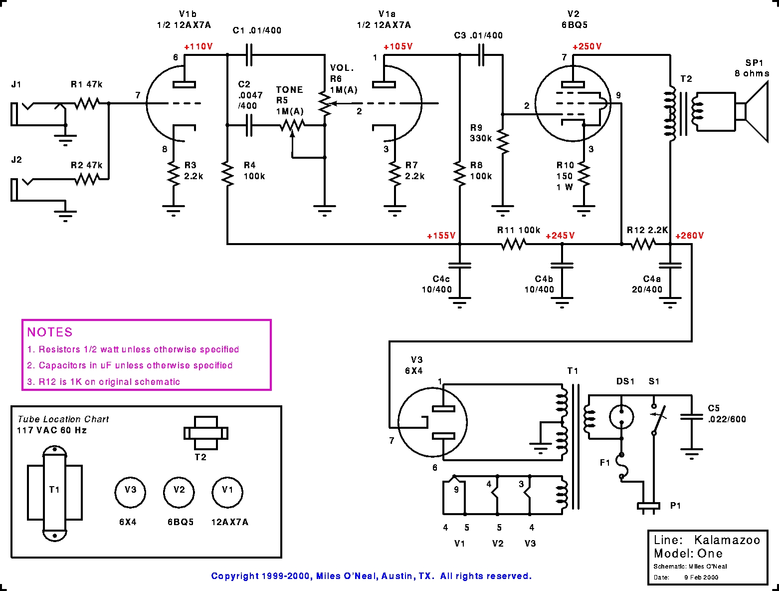 Kalamazoo Amp Field Guide Model 1 Schematic