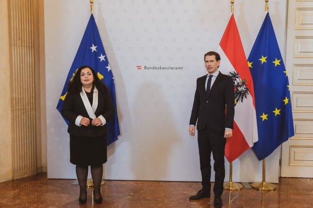 Presidentja Osmani takon kancelarin austriak, Sebastian Kurz konfirmon përkrahjen e Kosovës drejt BE-së