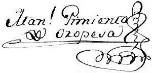 Firma de Manuel Pimienta de Oropesa