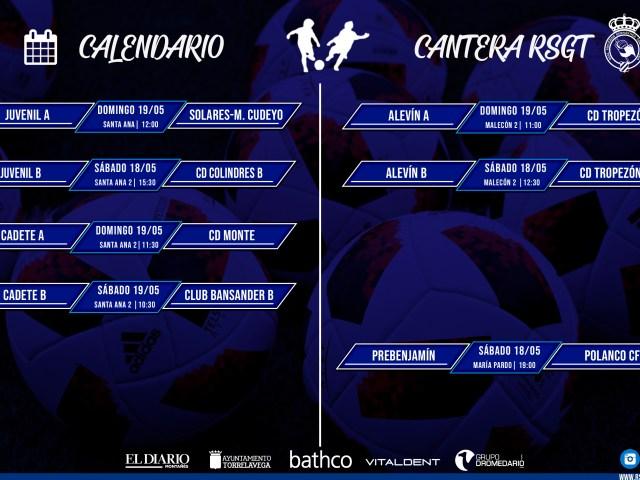 Plan de partidos de la Cantera RSGT para el fin de semana del 18/19 de mayo