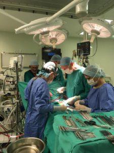 Dr Vosloo besig met die oorplanting.