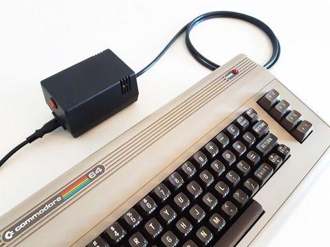 New C64 PSU powering the UK made C64 bread bin