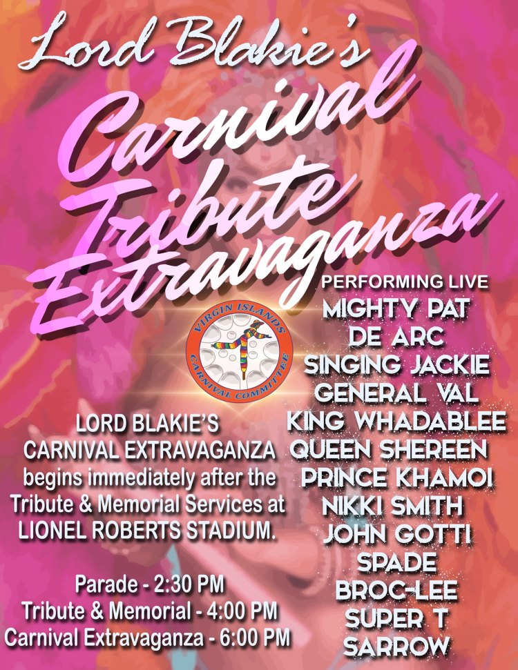 VI Carnival Committee poster for Lord Blakie's Carnival Tribute Extravaganza