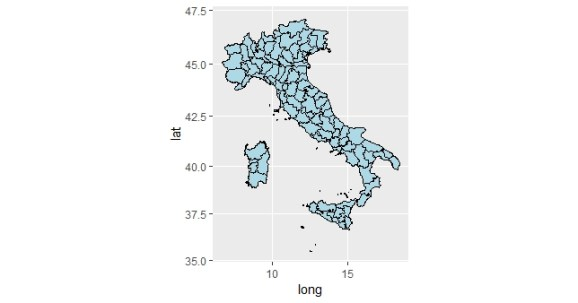 Example add map in ggplot2 using coord_map fuction
