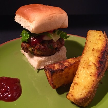 An Indian Inspired Turkey Burger with Oven Fries