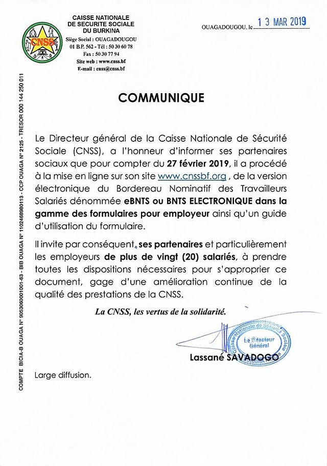 SALAIRES CNSS BORDEREAU DE DECLARATION DES TÉLÉCHARGER