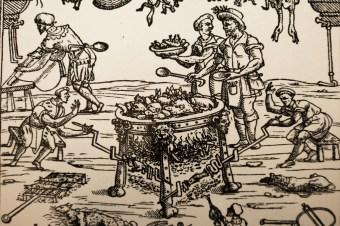 Interno di una cucina italiana, dal libro di cucina di Cristoforo da Messinburgo, scalco della Corte Estense