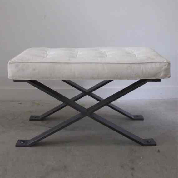 blackened steel pillow top stool