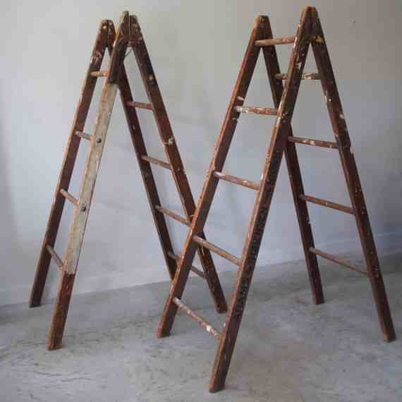 pair-of-antoque-ladders