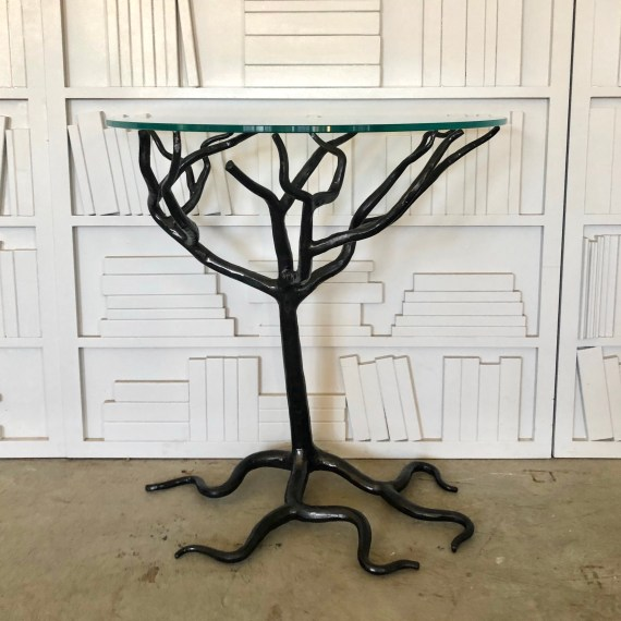 Tree Base Console Table with Glass Demi Lune Top, Blackened Finish – 1