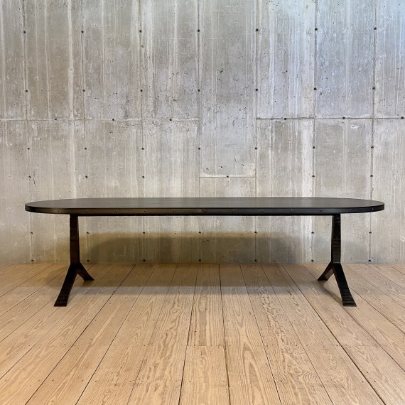 Vitruvian 114L Dining Table, Blackened Steel Finish, Black on Ash Top with Inset Banded Riveted Detail Steel Edge – 1