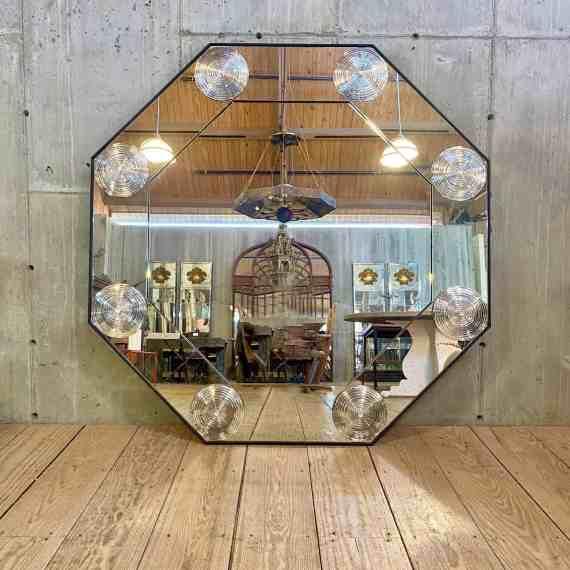 60 Octagonal Bullseye Mirror, Distressed Glass Panels – 1
