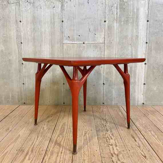 Mid Century Red Stained Square Table – 1