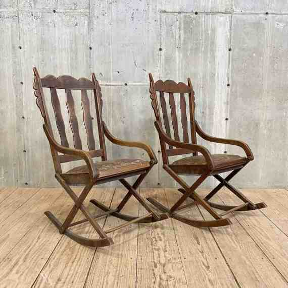 Pair of Rocking Chairs with Carved Gingerbread Trim – 1