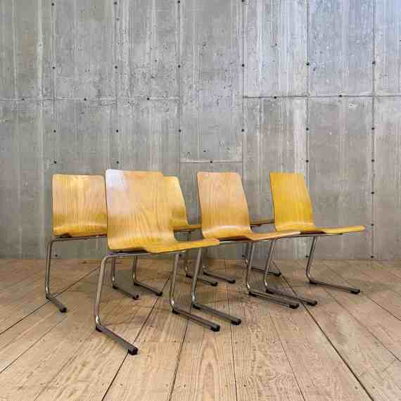 Set of Six Mid Century Chrome and Bentwood Dining Chairs – 1
