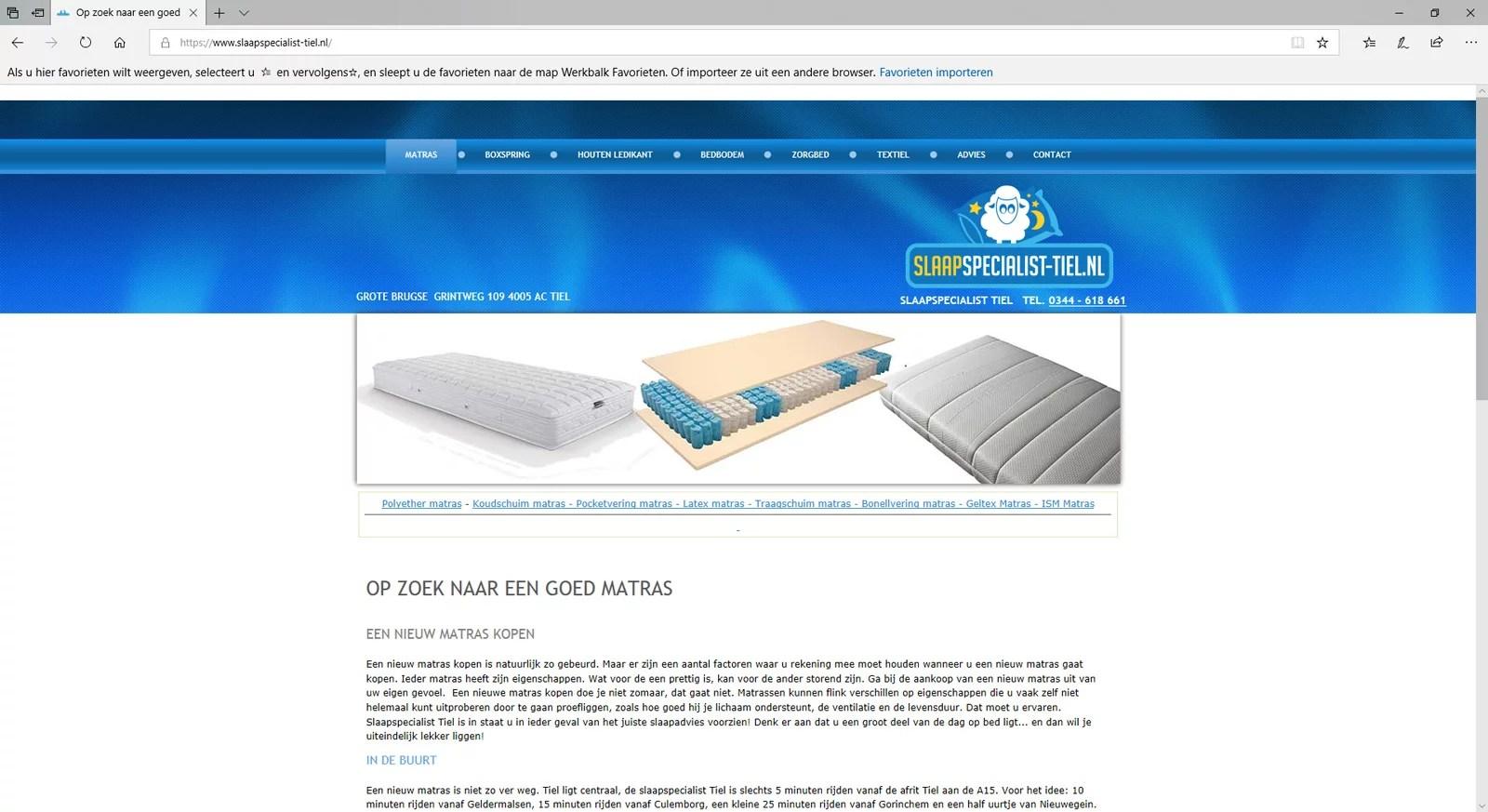 Een website voor een beddenspeciaalzaak in Tiel