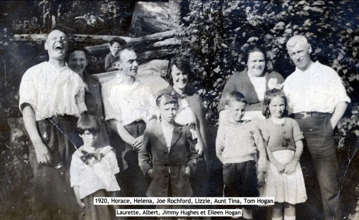 1920, Horace et Helena Thivierge, Joe Rochford, Lizzie Rochford (épouse de Jim), Aunt Tina Rochford, Tom Hogan