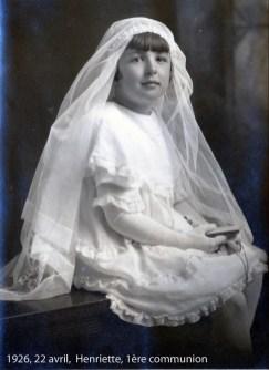 1926, 22 avril, Henriette de Kinder, 1ère communion