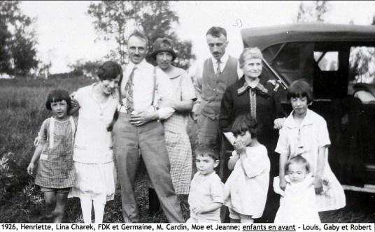 1926, Henriette, Lina Charek, François et Germaine de Kinder, M. Cardin, Moe