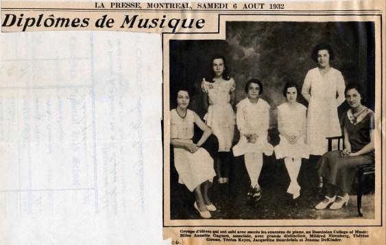 1932, Jeanne de Kinder diplômée en musique (2)