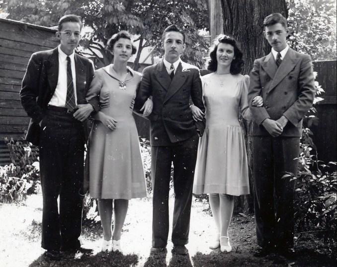 1942, Maurice, Gaby, Robert, Claire Hamelin et Louis