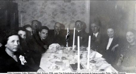 1944, Germaine, Gaby, Maurice, Onkel, Robert, FDK, pater Van Schuylenberg (réfugié survivant de bateau torpillé), Nette, Trudy, Henriette copie