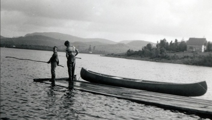 1958, Richard et Bobby au lac Croche