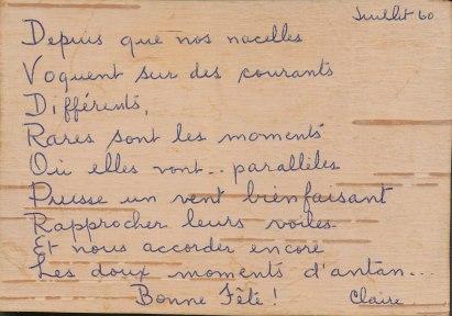 1960, message de Claire Hamelin à Gaby