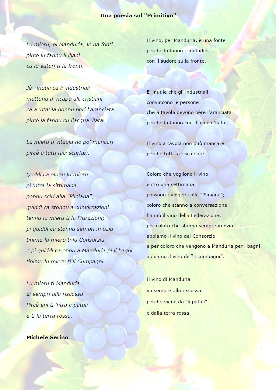 Una poesia sul Primitivo di Michele Serino