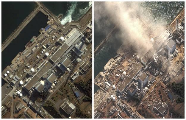 Imagen de satélite de la central de Fukushima antes y después del terremoto del 11 de marzo.