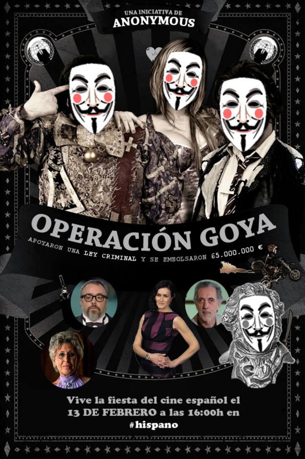 Cartel de la Operación Goya, convocada por Anonymous