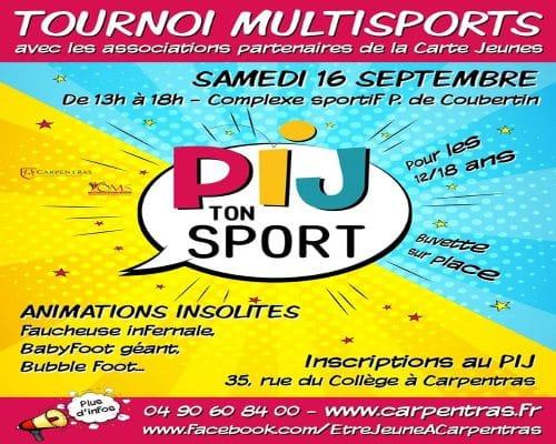 Carpentras: PIJ ton sport le samedi 16 septembre