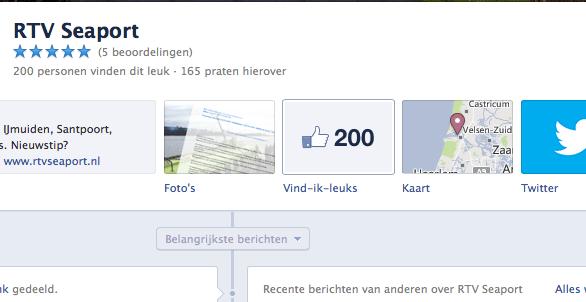 200 likes voor RTV Seaport op Facebook