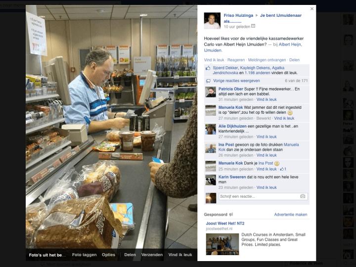 1200 Facebook-likes voor 'kassaman' Carlo
