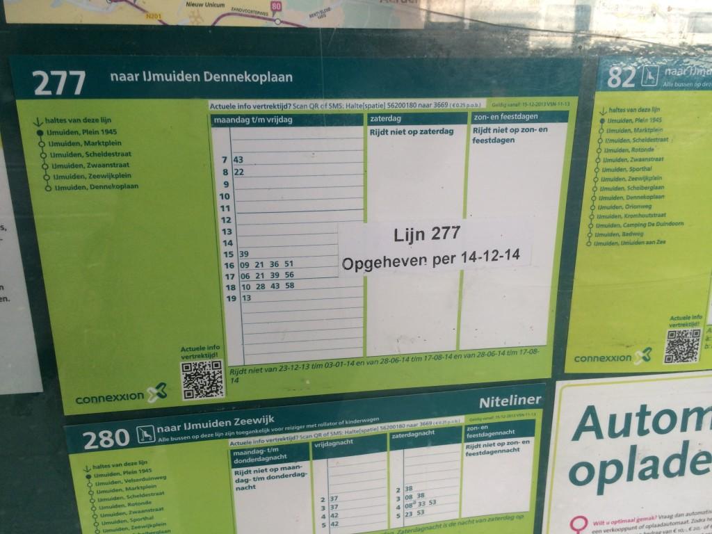 Petitie tegen afschaffing lijn 277