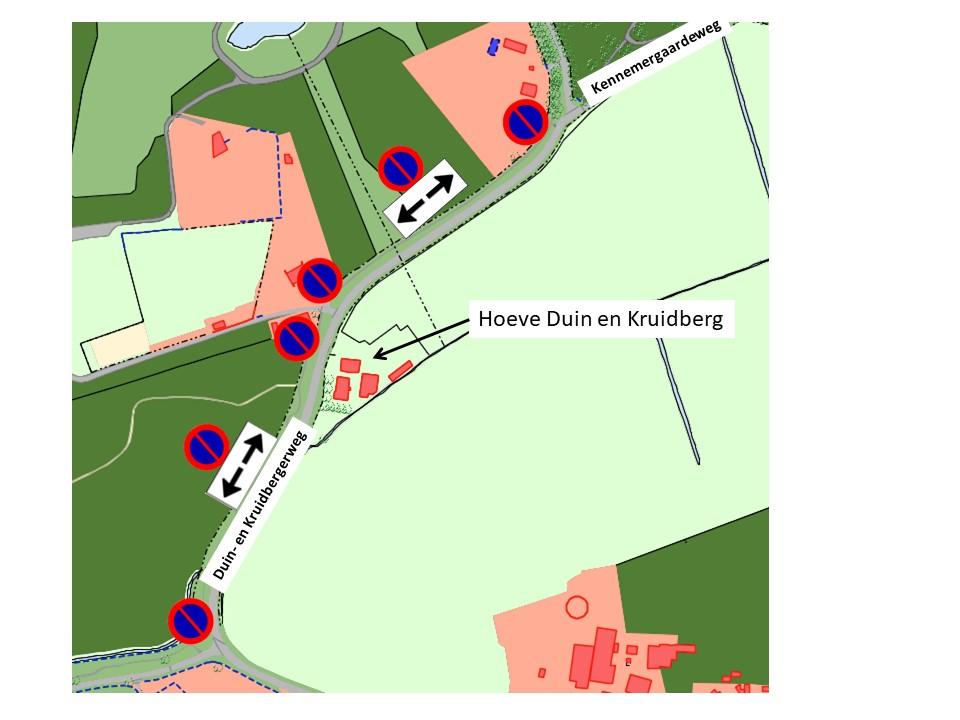 Tijdelijk stop- en parkeerverbod Duin en Kruidbergerweg